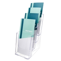 Deflecto Brochure Holder DL 4Tier 77701 Clear