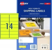 Avery Laser Label L7163FY PK25 14/Sht Flouro Yellow