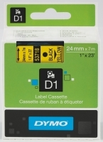 Dymo Labelling Tape D1 24mm x 7M 53718 Black on Yellow