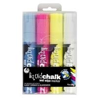 Texta Jumbo Liquid Chalk Wet Wipe Marker 15mm Asstd Wallet 4