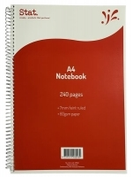 STAT Notebook A4 240pg 60gsm 7mm Ruling Board Cover PK5