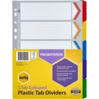 Divider A4 Manilla Reinforced Color 5tab Marbig 35011F