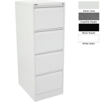 Go Steel Filing Cabinet 4 Drawer Silver Grey