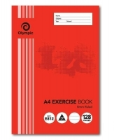 Olympic Exercise Book A4 128 page 8mm Ruled+Red Margin