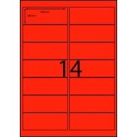 Rediform Colour Labels A4 Bx100 (14/sh) 98x38 Flouro Red