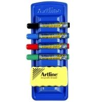 Artline Whiteboard Marker 577 & Magnetic Eraser Caddy Kit