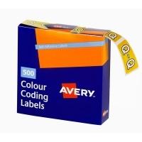 Avery Coding Label Alpha BX500 43217 (Q) 25x38mm Yellow