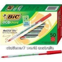 BIC Ecosolution Round Stic Ballpoint Pen Medium 1.0mm BX50 Red