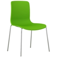 ACTI 4C 4 LEG CHAIR Chrome Frame With Plastic Shell Green