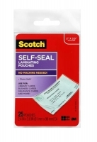 Scotch Self-Laminating 61x98 LS851 Business Card/ID Pouch PK25