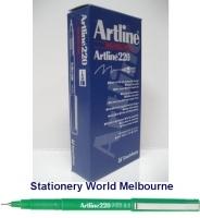 Artline Fineliner Marking Pens No 220 (0.2mm) BX12 Green