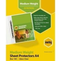 Marbig Sheet Protector Pockets A4 Medium Weight BX100 25109