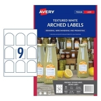 Avery L7118 Branding Label PK10 9/sh Textured White Arched