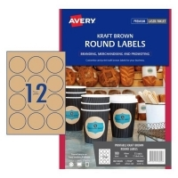 Avery L7106 Branding Label PK15 12/sh Brown Kraft Round 60mm Dia