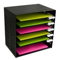 Metal Stationery Rack 6 Tier Black Italplast i403BK