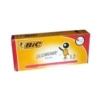 BIC ECONOMY BALLPOINT PENS 0124 BX12 Fine Red