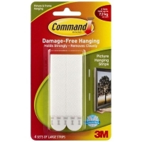 Command Adhesive 3M Picture Hanging Strips Large White 4 Sets