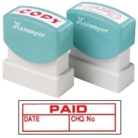 XSTAMPER STAMP - Paid/Date/Chq no. (Red) 1533 (5015330)