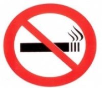 NO SMOKING Self Adhesive Sign 150x150mm Red/White 13571