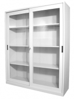 STEELCO SLIDING GLASS DOOR CUPBOARD 1830 3 Shelf White Satin