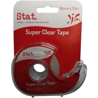 STAT Super Clear Tape & Dispenser 18mm x 33M BX12