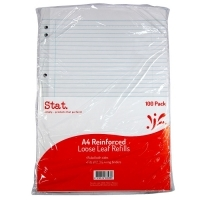 STAT Loose leaf Refills A4 Reinforced Ruled 100 Pack