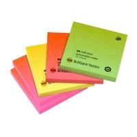 Marbig Stick On Notes 1810699 75x75mm Brilliant Neon PK5