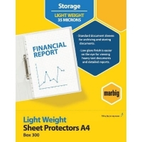 Marbig Sheet Protector Pockets A4 Light Weight 300 Pack 25170