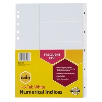 Divider A4 PVC White 1-5 Marbig 35101