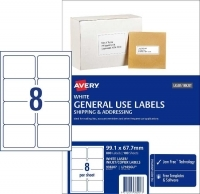 Avery 938207 General Use Labels L7165GU BX100 8/sheet