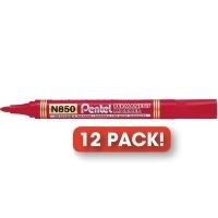 Pentel N850 Marker Permanent Bullet Red BX12