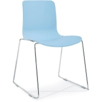 ACTI SC SLED BASE CHAIR Chrome Frame With Plastic Shell PaleBlue