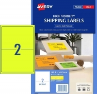 Avery Laser Label L7168FY PK25 2/Sht Fluoro Yellow