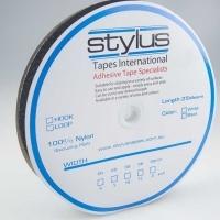 Stylus Hook & Loop Fastener 25mm x 25M Black LOOP ONLY