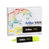 Artline Vivix Liquid Highlighter Yellow BX10