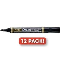 Pentel N850 Marker Permanent Bullet Black BX12