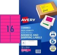 Avery Laser Label L7162FP PK25 sheets 16/Sheet Flouro Pink