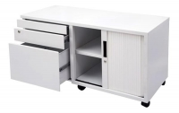 GO Steel Mobile Caddy GCADR With Right Hand Tambour Door White