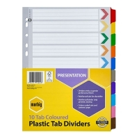 Divider A4 Manilla Reinforced Color 10Tab Marbig 35017F