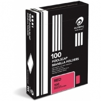 Olympic Manilla Folders Coloured Fcap BX100 Red