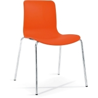 ACTI 4C 4 LEG CHAIR Chrome Frame With Plastic Shell Orange