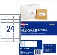 Avery 938201 General Use Labels L7159GU BX100 24/sheet 64x33.8mm