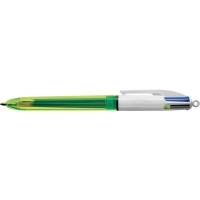BIC 4 COLOUR BALLPOINT PEN Retractable Fluro Box of 12