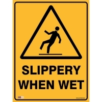 SAFETY SIGN - Slippery When Wet 450mmx600mm Metal