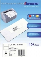Unistat Labels 38938  BX100 Sheets (2 labels/sheet) 148x210mm