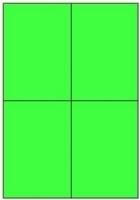 Custom Label 413 A4 BX100 4/sheet Fluro Green 105x147.6