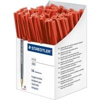 Staedtler Stick Ballpoint Pen 430M BX50 Med Red