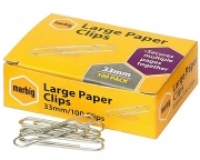 Marbig Paper Clips Eliptical 33mm Large BX100 87085