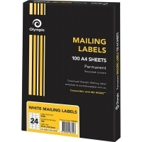 Olympic Labels A4 BX100 (Ctn-5bxs) (24/sheet) 64x33.9mm