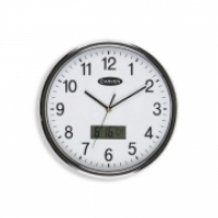 Carven Wall Clock 285mm Silver Rim LCD Date CL285SLCD